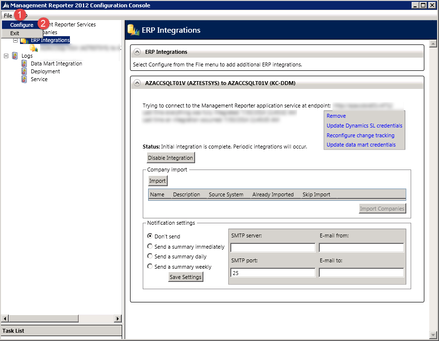 erp integrations configure