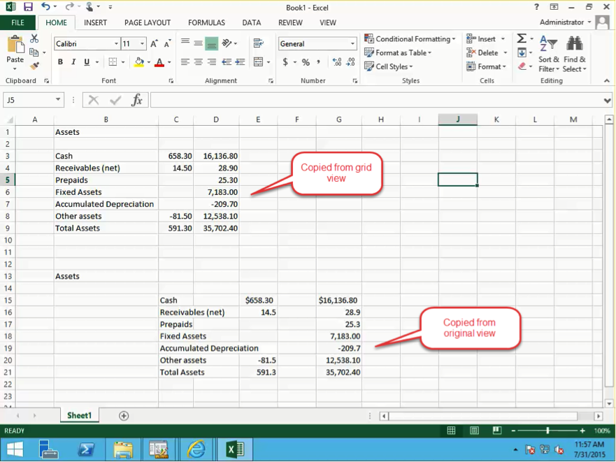 Management Reporter Reports in Excel