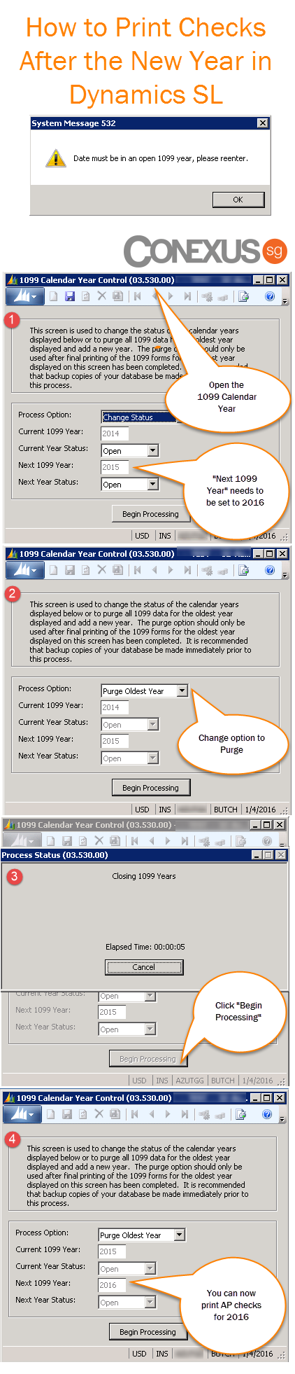 Quick refresher of how to use the 1099 Calendar Year Control Screen